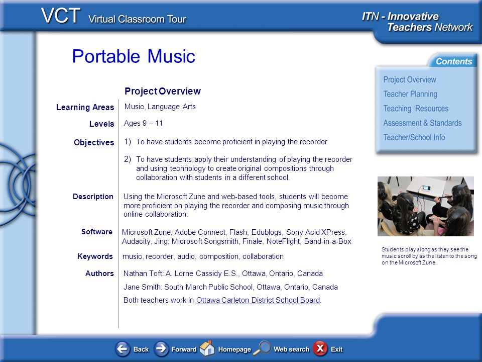 Portable Music AuthorsNathan Toft: A. Lorne Cassidy E.S., Ottawa, Ontario, Canada Jane Smith: South March Public School, Ottawa, Ontario, Canada Both