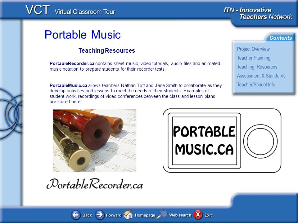 Portable Music Teaching Resources PortableRecorder.ca contains sheet music, video tutorials, audio files and animated music notation to prepare students for their recorder tests.