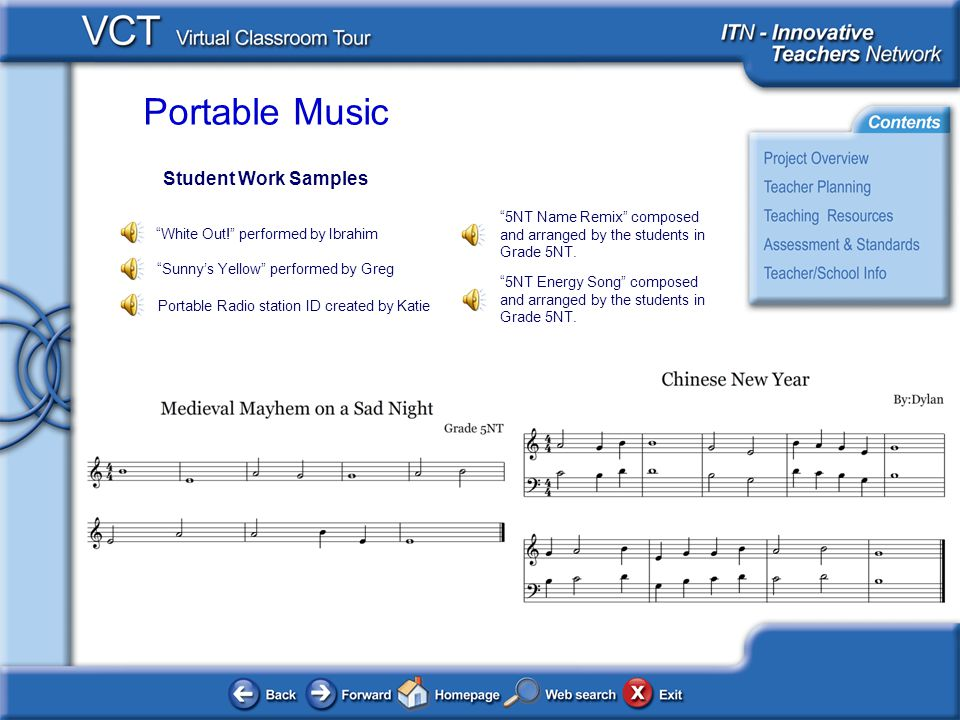 Portable Music Student Work Samples White Out! performed by Ibrahim Sunny's Yellow performed by Greg 5NT Name Remix composed and arranged by the students in Grade 5NT.