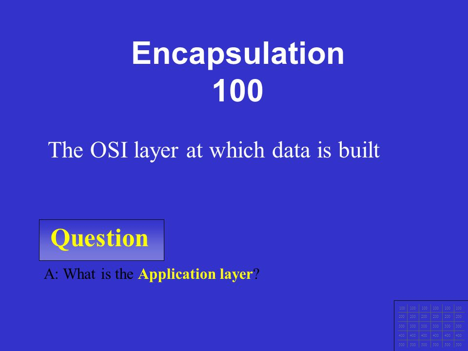 Question 100 200 300 400 500 A: What is Transport layer.