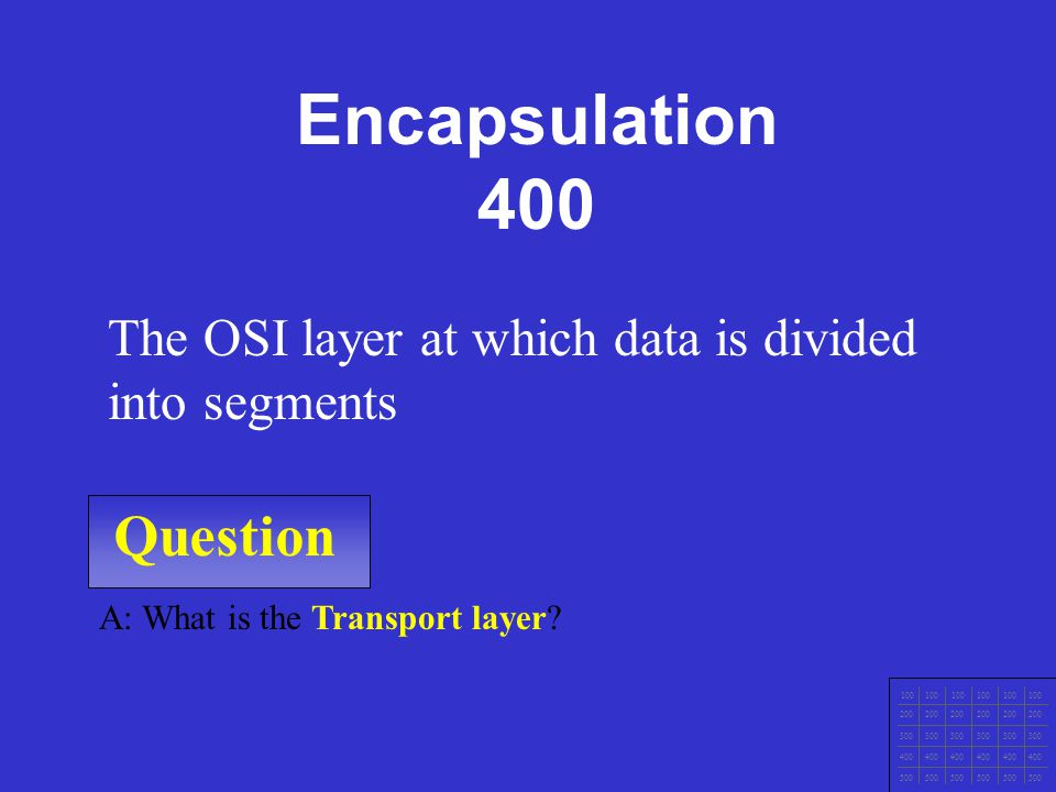 Question 100 200 300 400 500 A: What is the Physical layer.