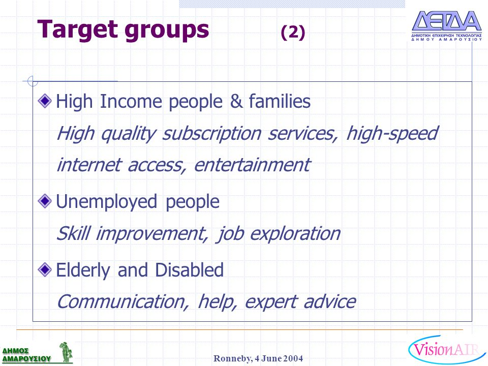 1 Ronneby, 4 June 2004 Target groups (2) High Income people & families High quality subscription services, high-speed internet access, entertainment U