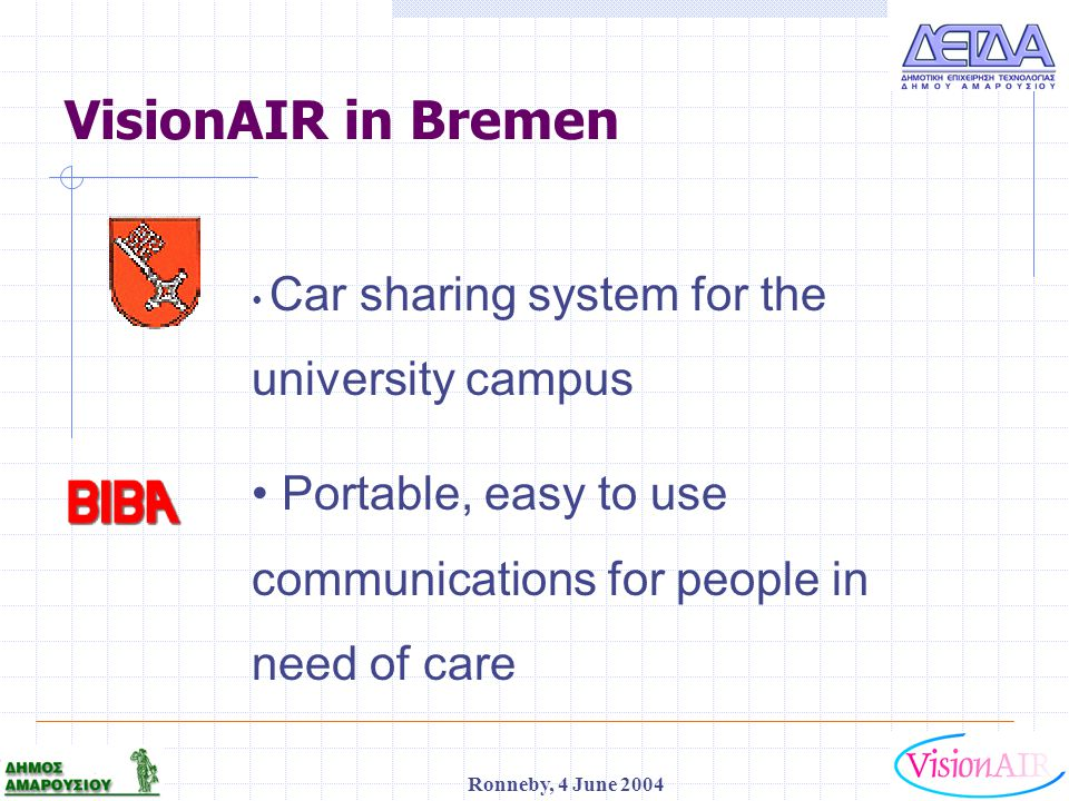 1 Ronneby, 4 June 2004 VisionAIR in Bremen Car sharing system for the university campus Portable, easy to use communications for people in need of car