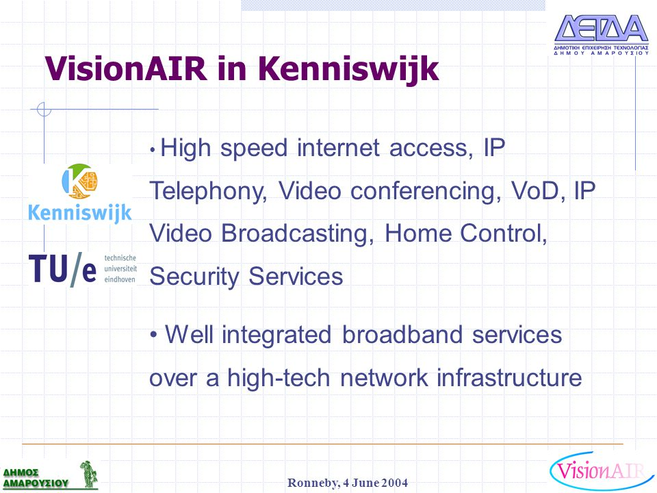 1 Ronneby, 4 June 2004 VisionAIR in Kenniswijk High speed internet access, IP Telephony, Video conferencing, VoD, IP Video Broadcasting, Home Control,