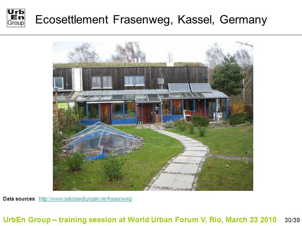 UrbEn Group – training session at World Urban Forum V, Rio, March 23 2010 30/39 Ecosettlement Frasenweg, Kassel, Germany Data sources: http://www.oeko