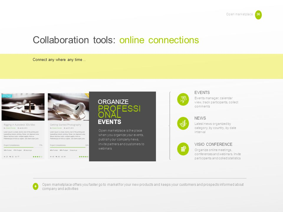 Open marketplace 36 Collaboration tools: online connections Connect any where any time.. EVENTS Events manager, calendar view, track participants, col
