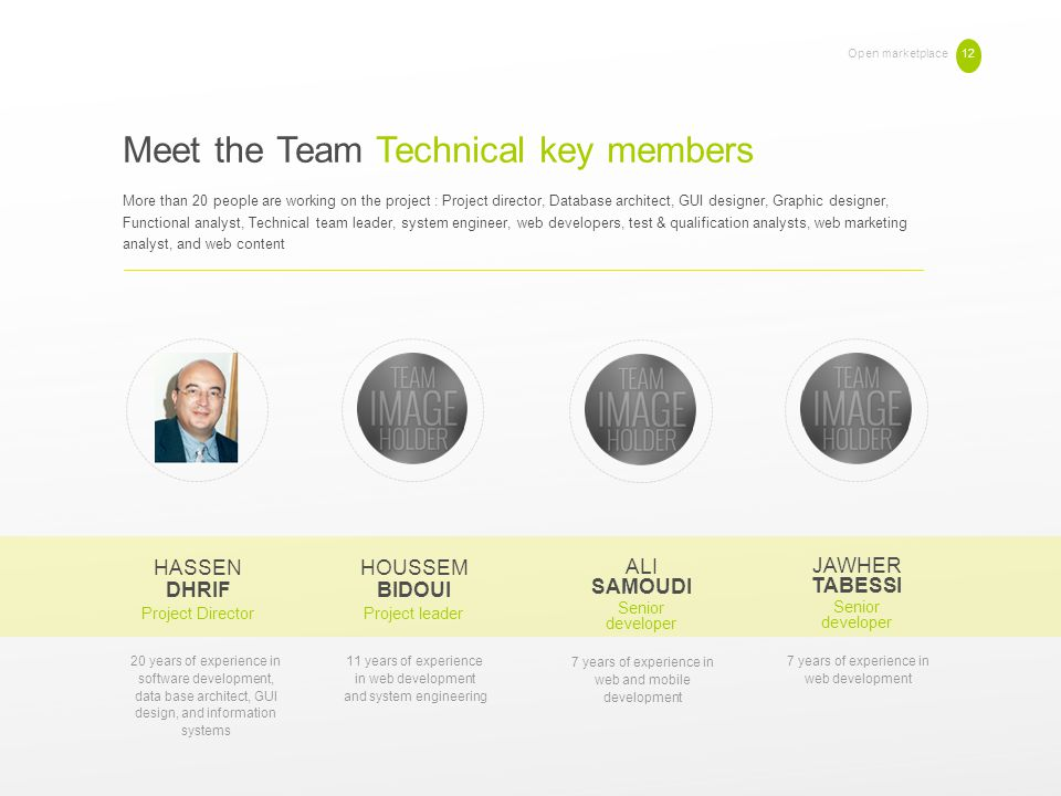 Meet the Team Technical key members Open marketplace 12 More than 20 people are working on the project : Project director, Database architect, GUI des