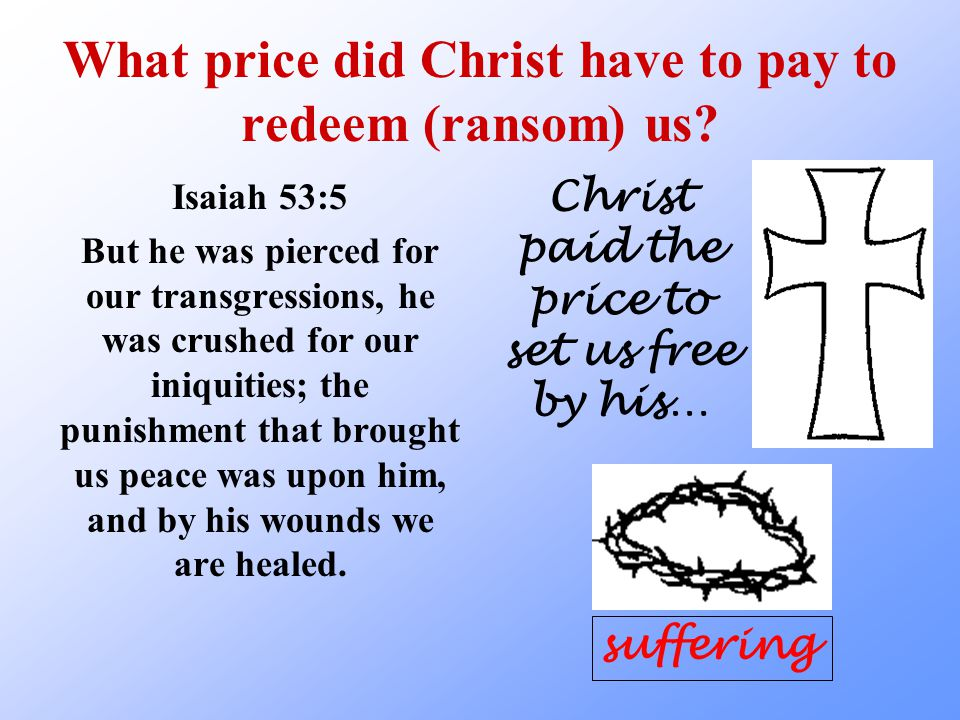 What price did Christ have to pay to redeem (ransom) us.