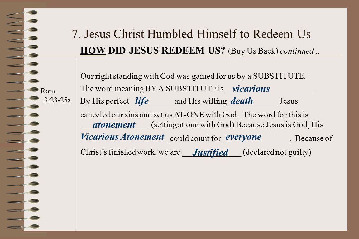 7. Jesus Christ Humbled Himself to Redeem Us Rom.