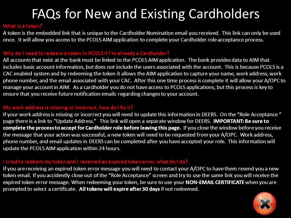Cardholder Action AIM: Accept Cardholder Nomination Click the Accept button.