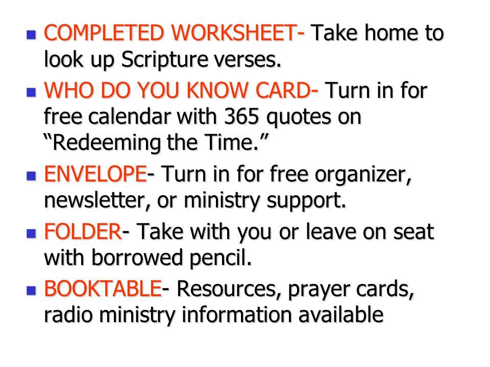 COMPLETED WORKSHEET- Take home to look up Scripture verses.