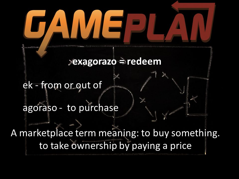 exagorazo = redeem ek - from or out of agoraso - to purchase A marketplace term meaning: to buy something. to take ownership by paying a price