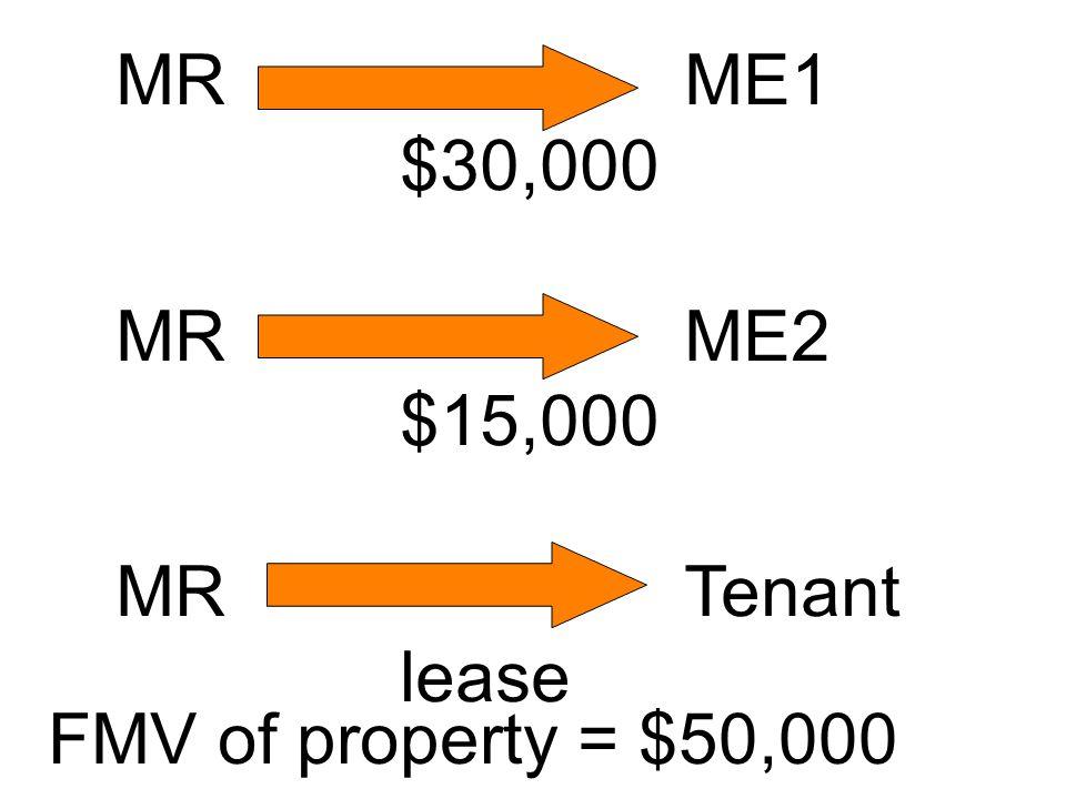 MRME1 $30,000 MRME2 $15,000 MRTenant lease FMV of property = $50,000