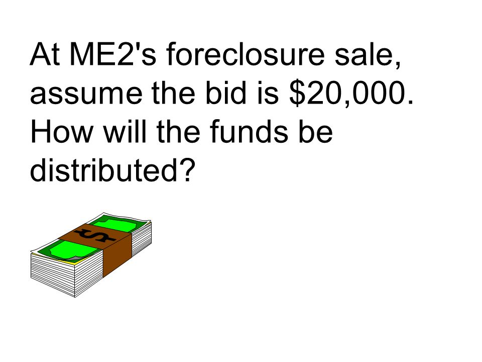 At ME2 s foreclosure sale, assume the bid is $20,000. How will the funds be distributed?