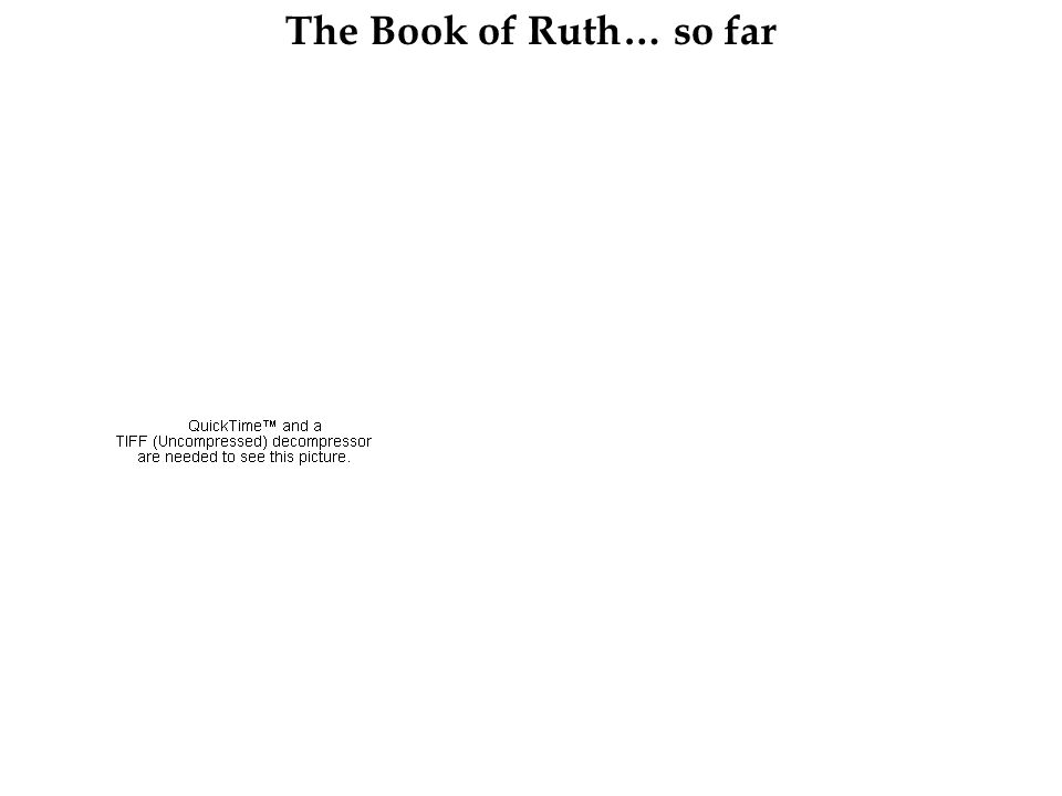 The Book of Ruth… so far