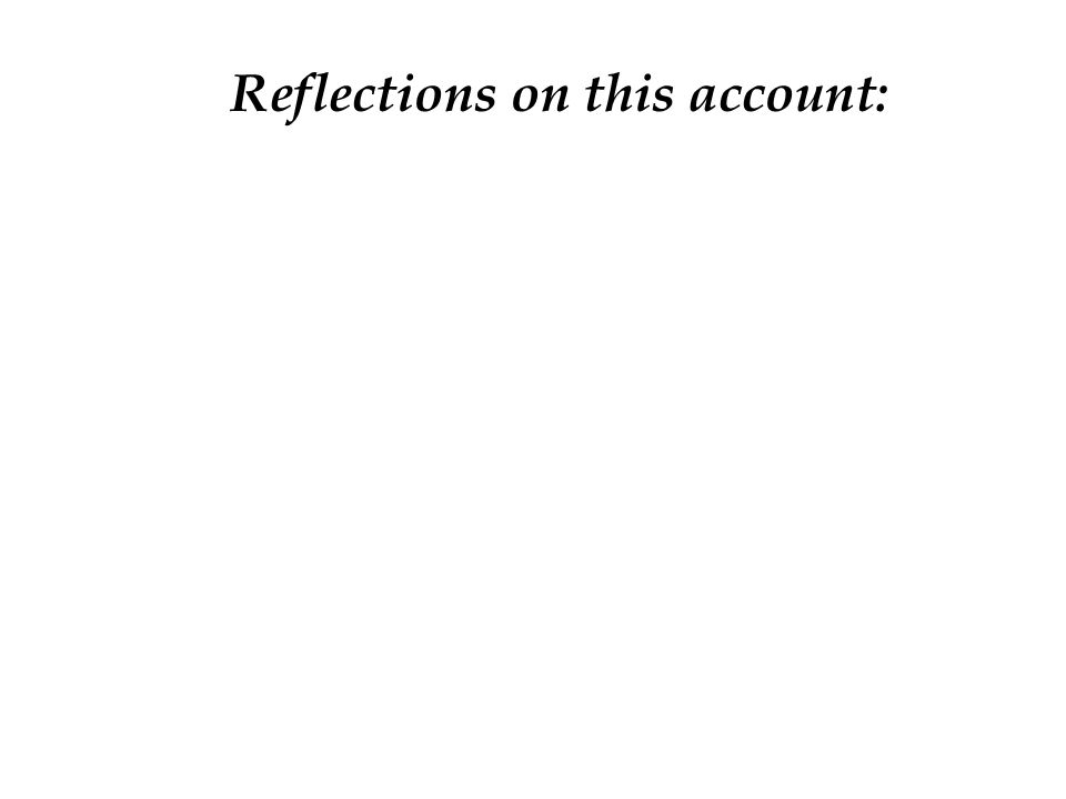 Reflections on this account: