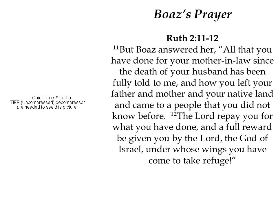 Boaz's Prayer Ruth 2:11-12 11 But Boaz answered her, All that you have done for your mother-in-law since the death of your husband has been fully told to me, and how you left your father and mother and your native land and came to a people that you did not know before.