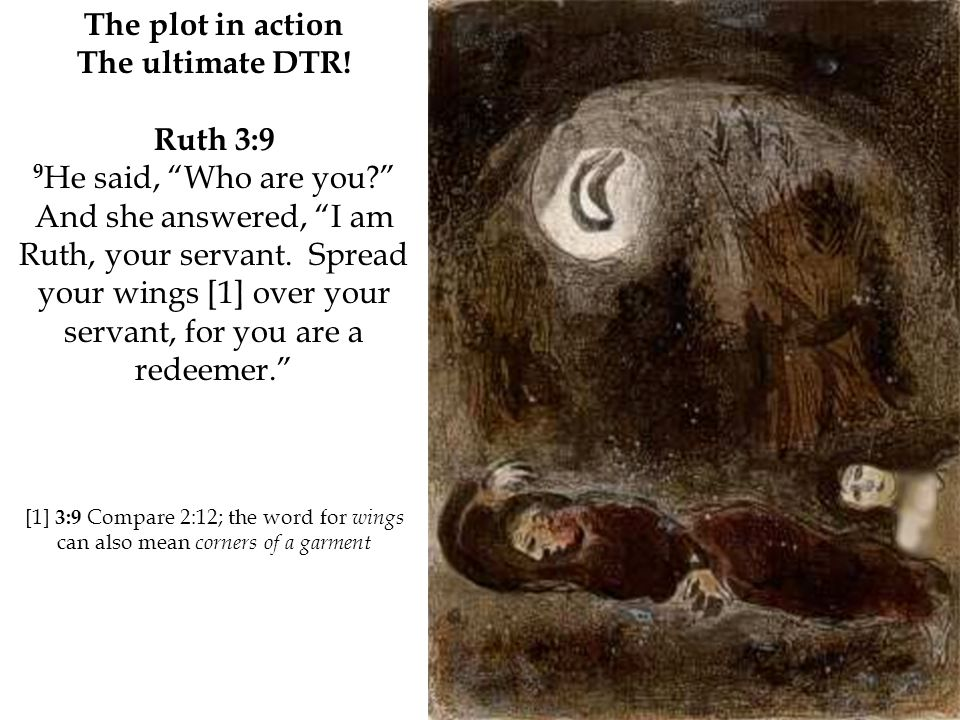 """The plot in action The ultimate DTR! Ruth 3:9 9 He said, """"Who are you?"""" And she answered, """"I am Ruth, your servant. Spread your wings [1] over your se"""