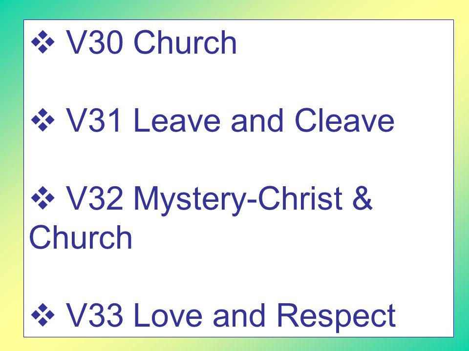  V30 Church  V31 Leave and Cleave  V32 Mystery-Christ & Church  V33 Love and Respect
