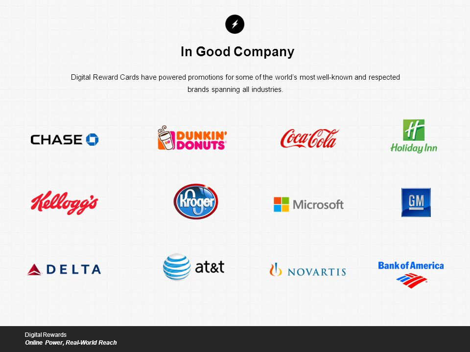 Digital Reward Cards have powered promotions for some of the world's most well-known and respected brands spanning all industries.