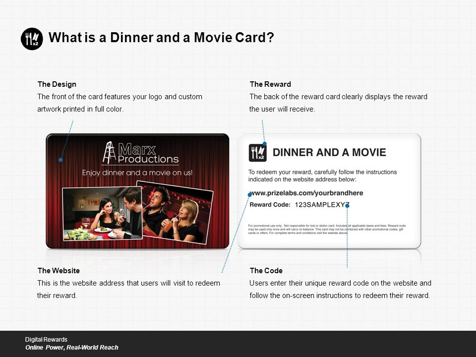 What is a Dinner and a Movie Card.