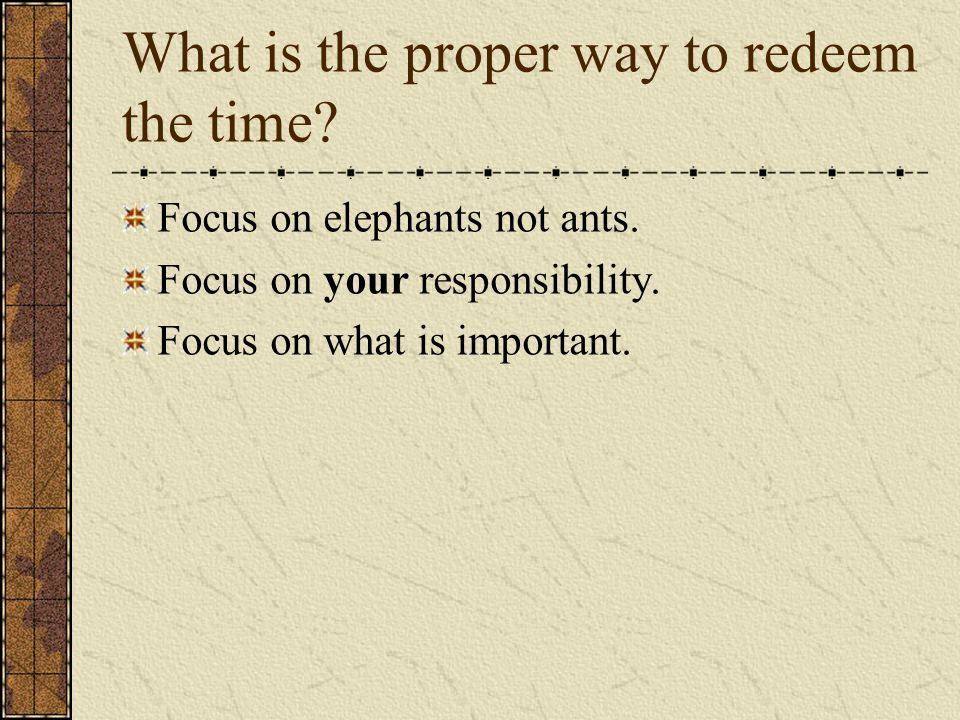 What is the proper way to redeem the time. Focus on elephants not ants.