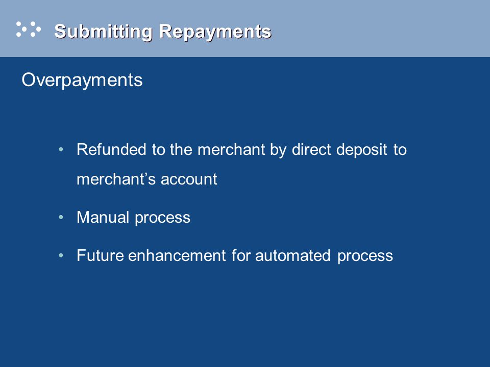 Submitting Repayments Refunded to the merchant by direct deposit to merchant's account Manual process Future enhancement for automated process Overpayments
