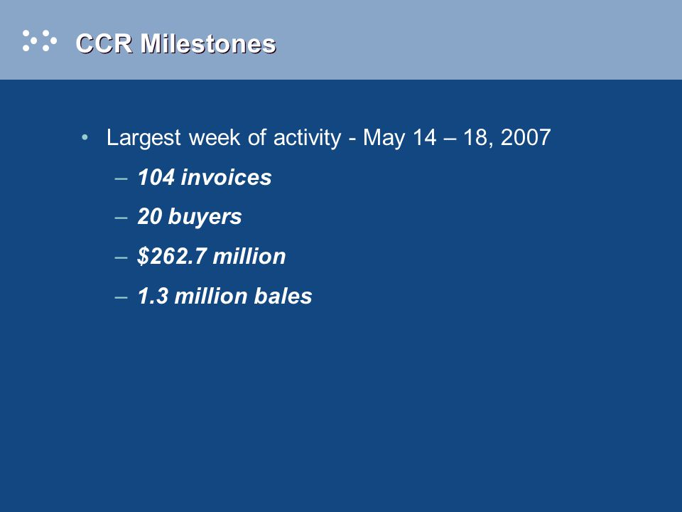 CCR Milestones Largest week of activity - May 14 – 18, 2007 –104 invoices –20 buyers –$262.7 million –1.3 million bales