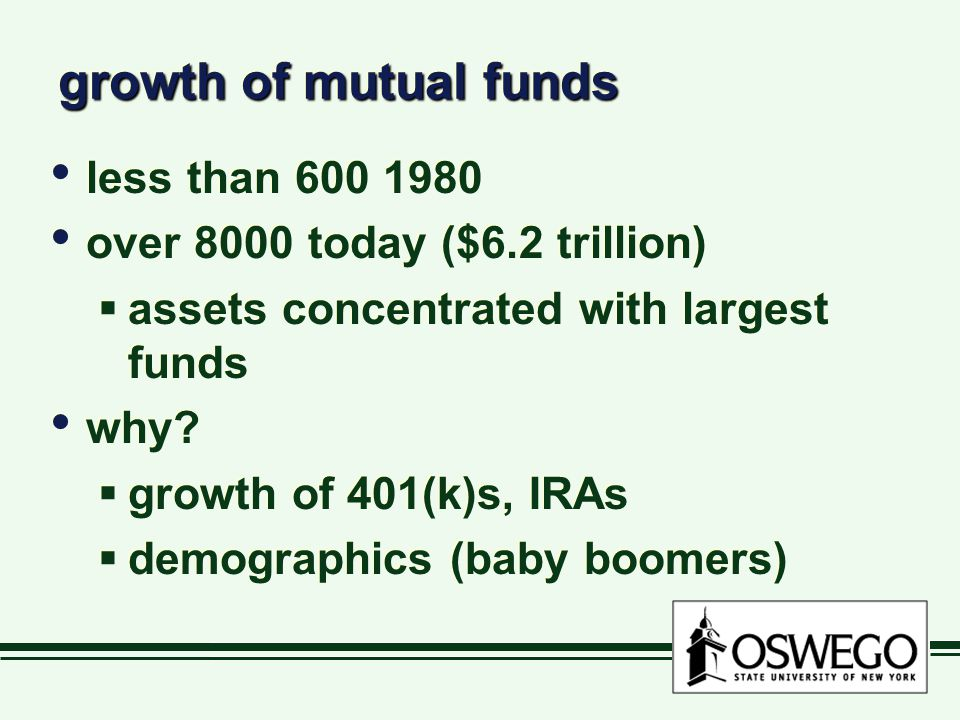 growth of mutual funds less than 600 1980 over 8000 today ($6.2 trillion)  assets concentrated with largest funds why.