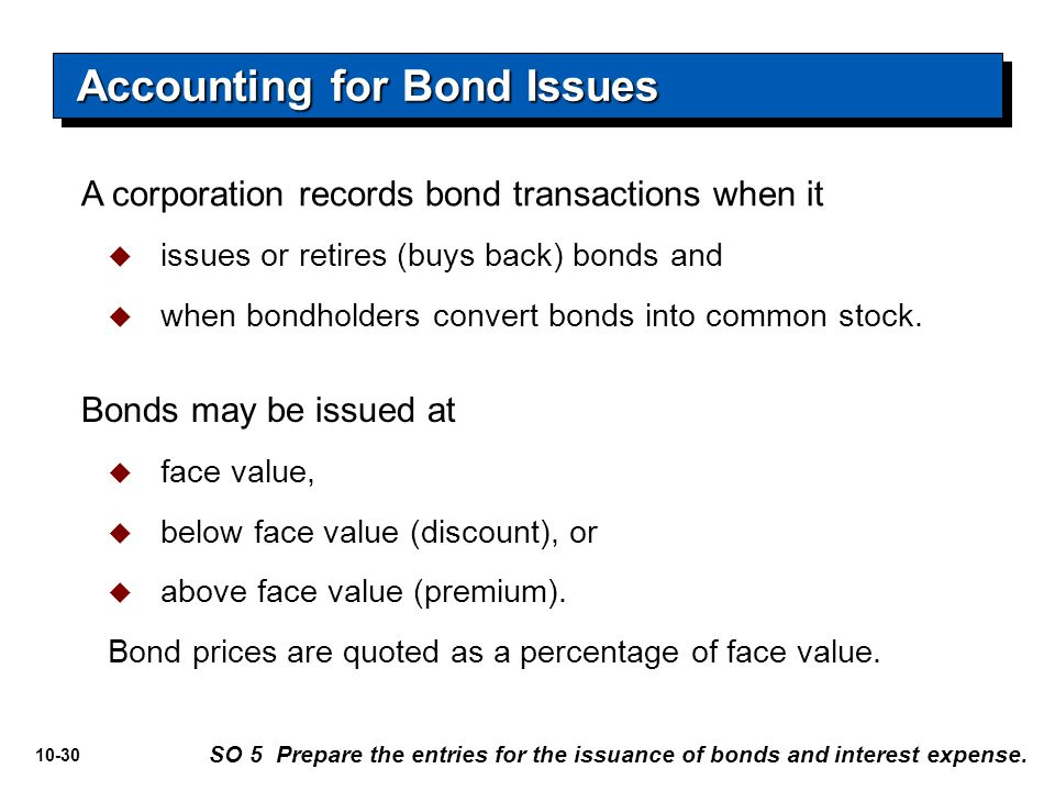 10-30 A corporation records bond transactions when it  issues or retires (buys back) bonds and  when bondholders convert bonds into common stock. Ac