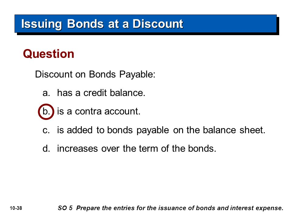 10-38 Discount on Bonds Payable: a.has a credit balance. b.is a contra account. c.is added to bonds payable on the balance sheet. d.increases over the