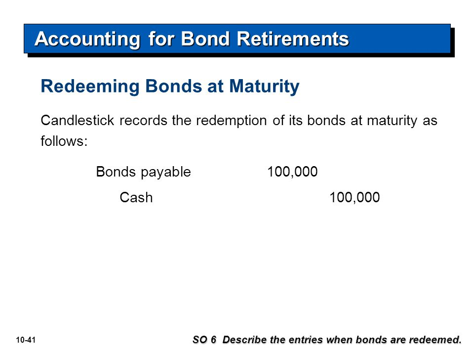 10-41 Redeeming Bonds at Maturity SO 6 Describe the entries when bonds are redeemed. Candlestick records the redemption of its bonds at maturity as fo