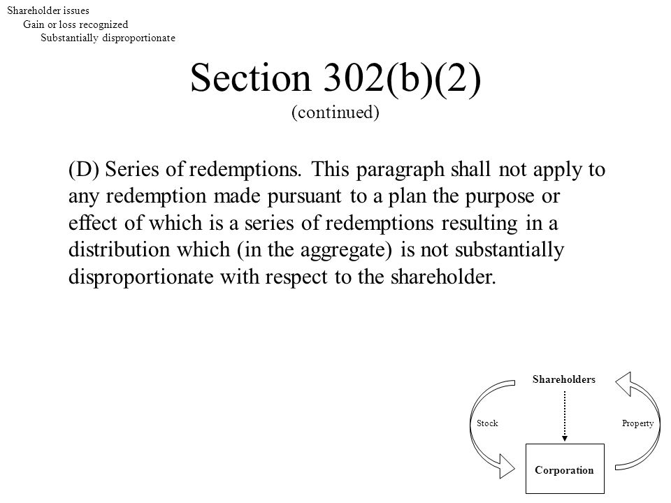 Section 302(b)(2) (continued) Shareholders Corporation StockProperty (D) Series of redemptions. This paragraph shall not apply to any redemption made