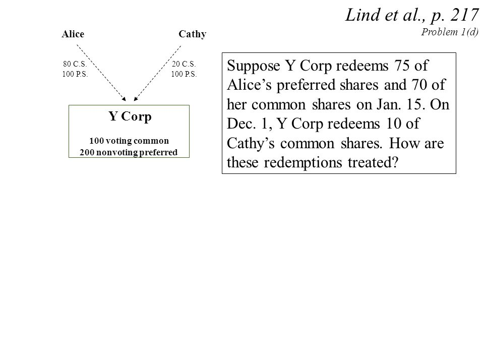 Alice Y Corp 100 voting common 200 nonvoting preferred Lind et al., p. 217 Problem 1(d) Cathy Suppose Y Corp redeems 75 of Alice's preferred shares an