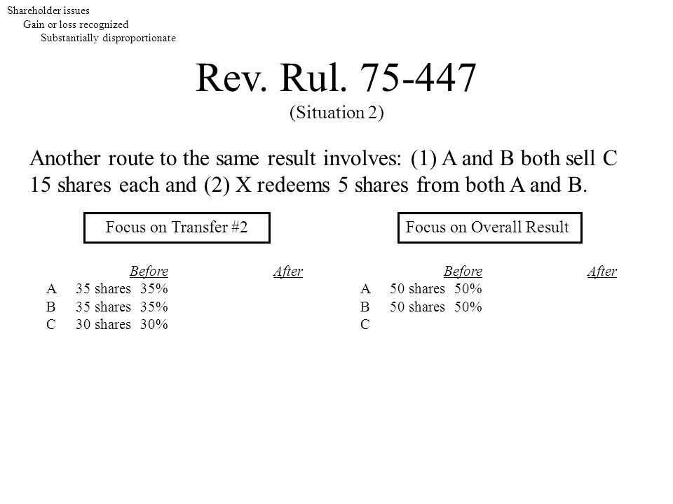Rev. Rul. 75-447 (Situation 2) Shareholder issues Gain or loss recognized Substantially disproportionate Focus on Transfer #2Focus on Overall Result B