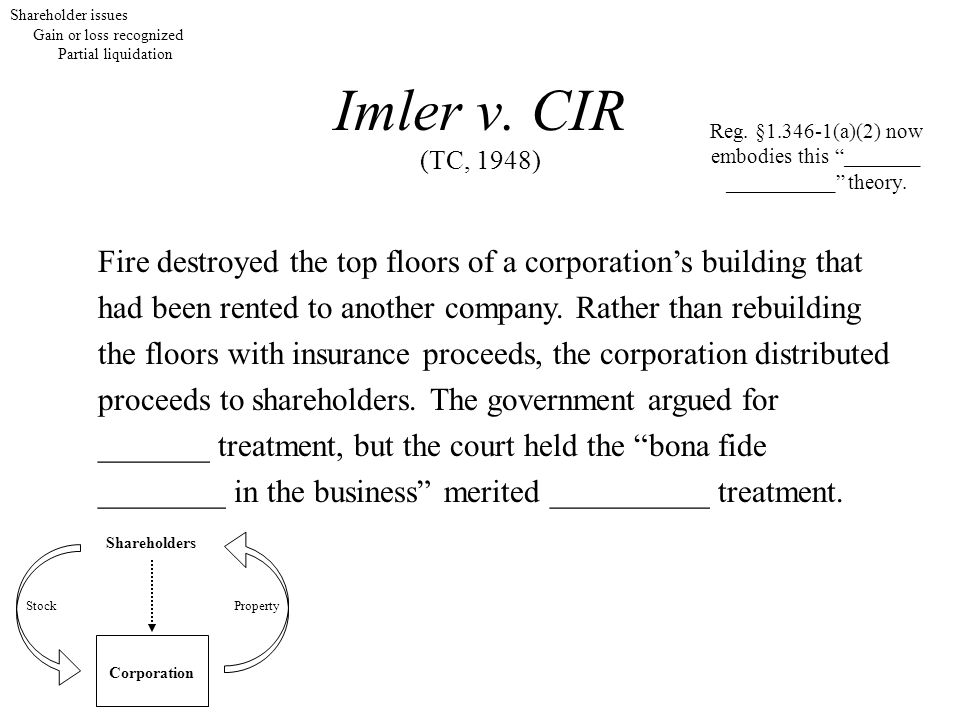 Imler v. CIR (TC, 1948) Fire destroyed the top floors of a corporation's building that had been rented to another company. Rather than rebuilding the