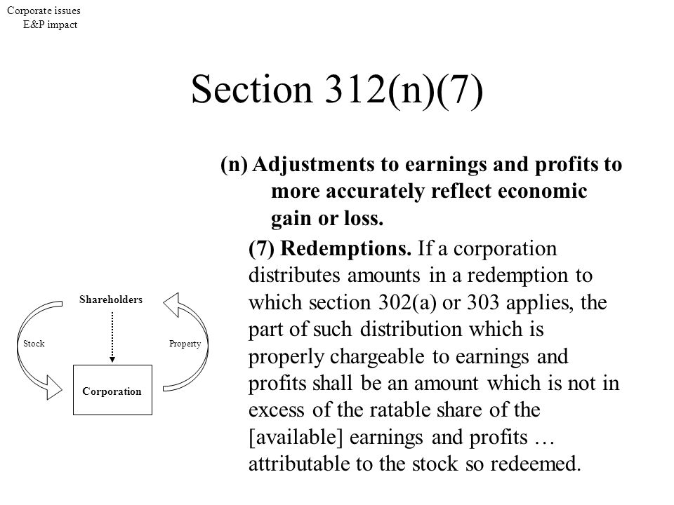 Corporate issues E&P impact Shareholders Corporation StockProperty Section 312(n)(7) (n) Adjustments to earnings and profits to more accurately reflec