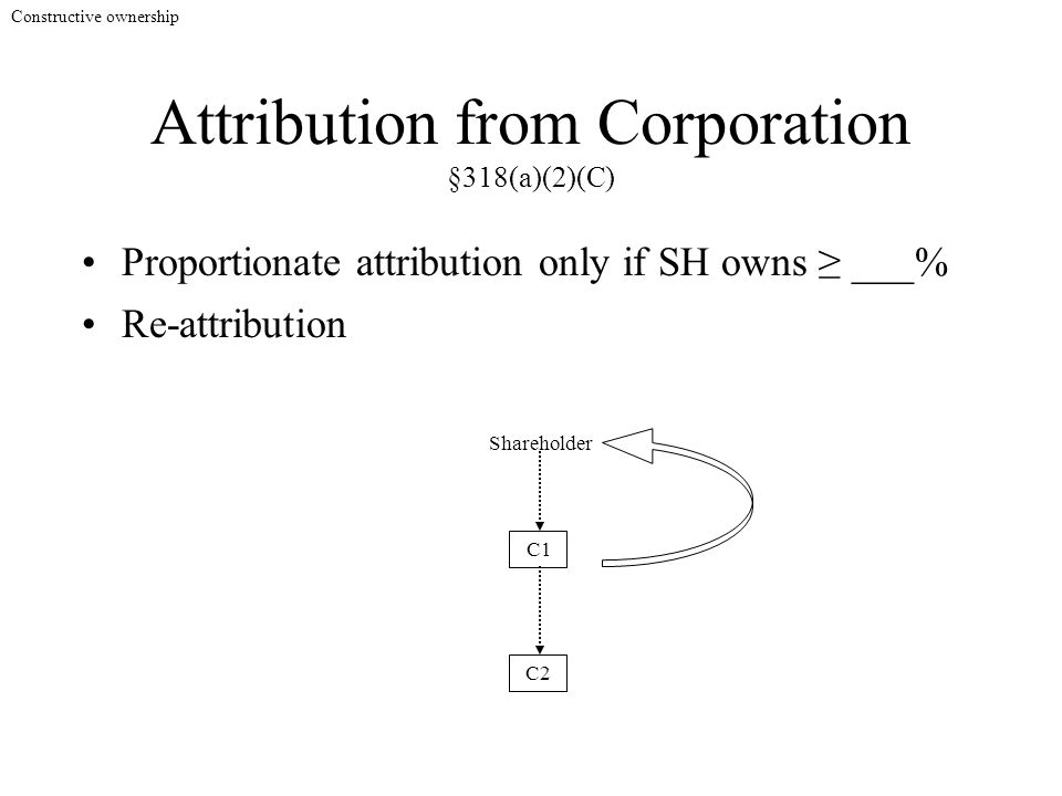 Attribution from Corporation §318(a)(2)(C) Proportionate attribution only if SH owns ≥ ___% C2 Shareholder C1 Re-attribution Constructive ownership