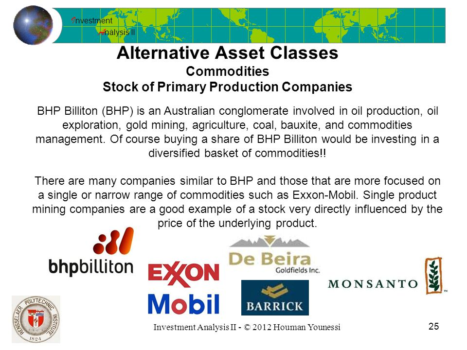 I nvestment A nalysis II 25 Investment Analysis II - © 2012 Houman Younessi Alternative Asset Classes Commodities Stock of Primary Production Companies BHP Billiton (BHP) is an Australian conglomerate involved in oil production, oil exploration, gold mining, agriculture, coal, bauxite, and commodities management.