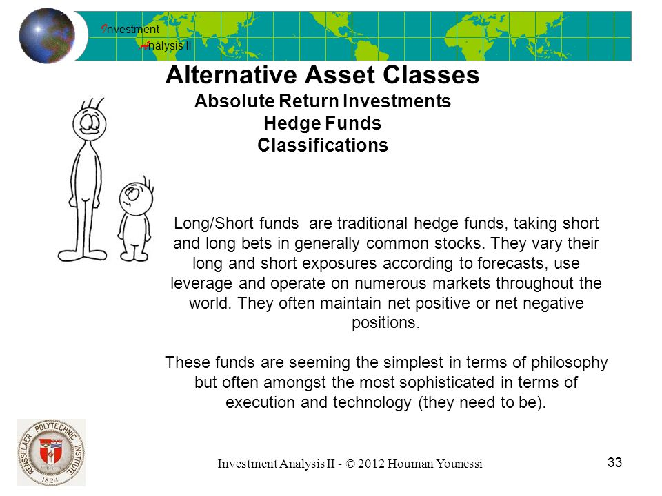 I nvestment A nalysis II 33 Investment Analysis II - © 2012 Houman Younessi Alternative Asset Classes Absolute Return Investments Hedge Funds Classifications Long/Short funds are traditional hedge funds, taking short and long bets in generally common stocks.