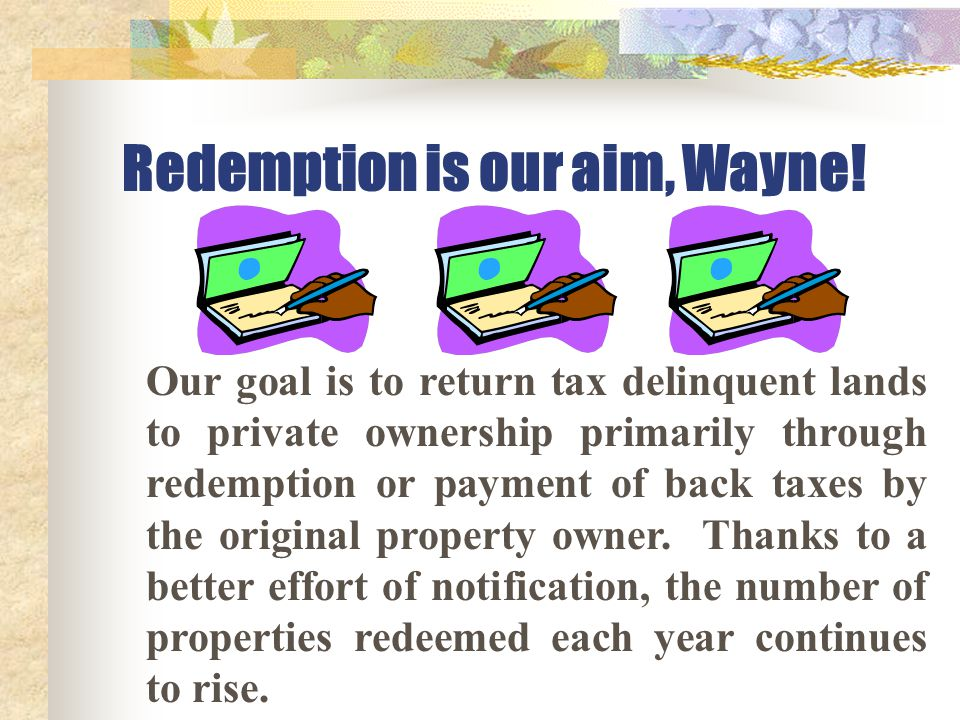 Redemption is our aim, Wayne! Our goal is to return tax delinquent lands to private ownership primarily through redemption or payment of back taxes by