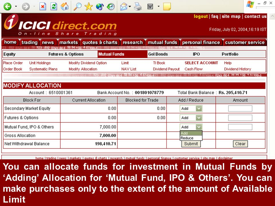 You can allocate funds for investment in Mutual Funds by 'Adding' Allocation for 'Mutual Fund, IPO & Others'.