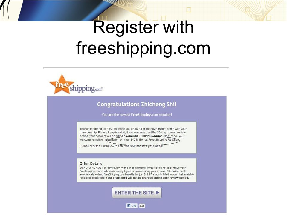 Register with freeshipping.com