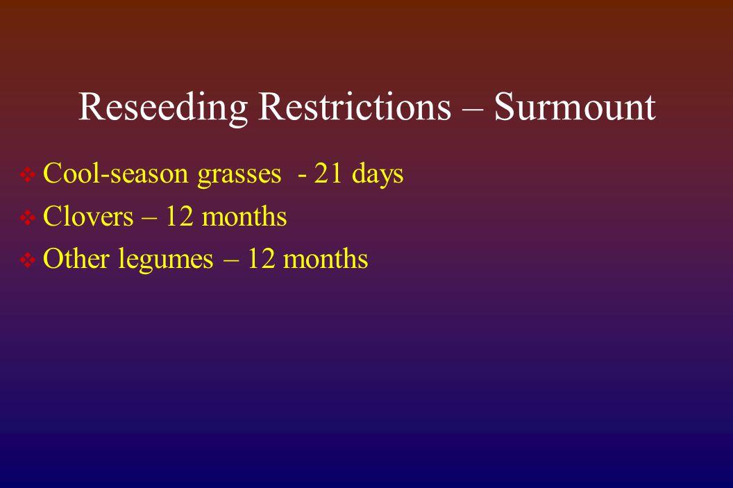 Reseeding Restrictions – Surmount  Cool-season grasses - 21 days  Clovers – 12 months  Other legumes – 12 months