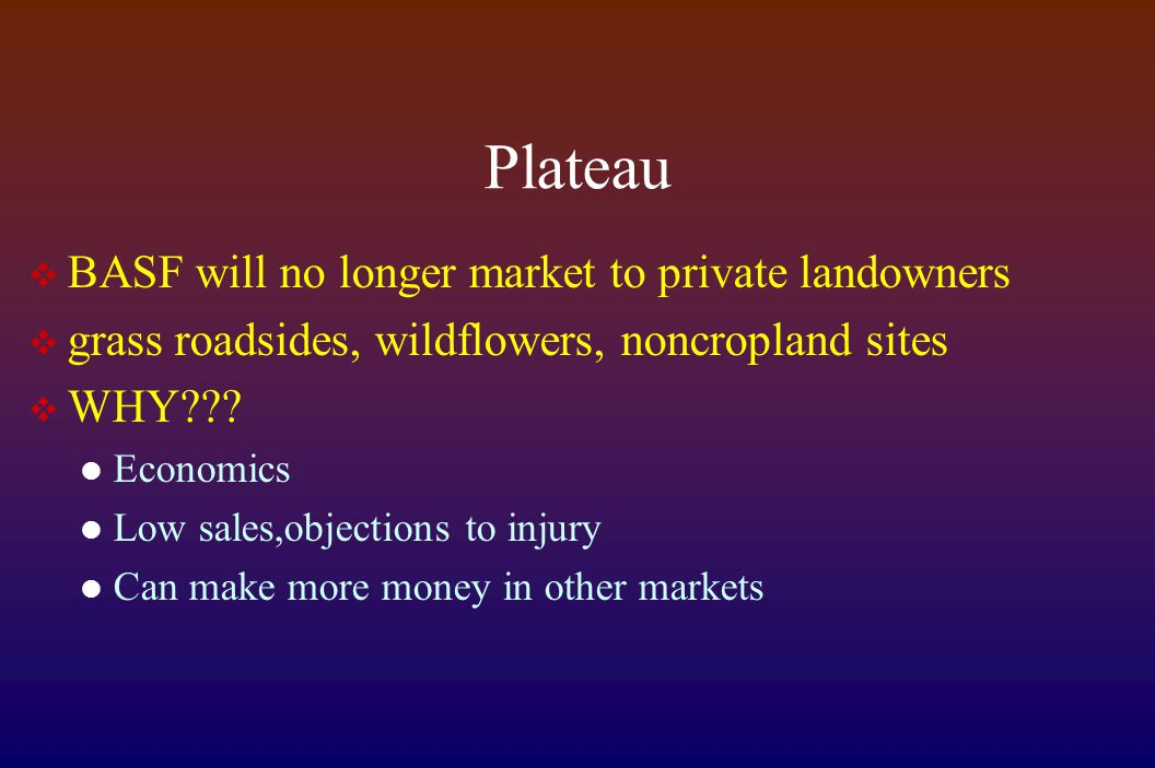 Plateau  BASF will no longer market to private landowners  grass roadsides, wildflowers, noncropland sites  WHY??? Economics Low sales,objections t