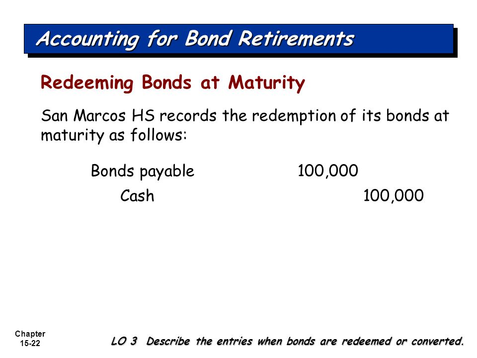 Chapter 15-22 Redeeming Bonds at Maturity Accounting for Bond Retirements LO 3 Describe the entries when bonds are redeemed or converted. San Marcos H