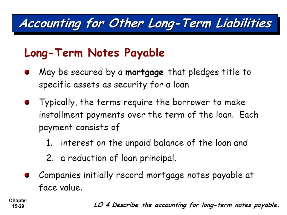 Chapter 15-29 Long-Term Notes Payable May be secured by a mortgage that pledges title to specific assets as security for a loan Typically, the terms r