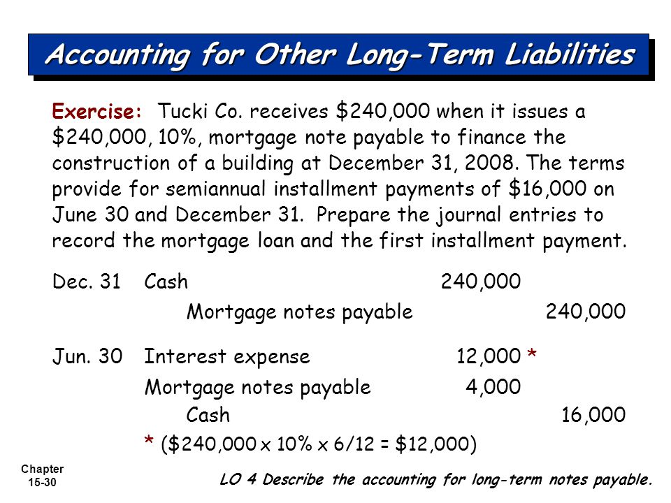 Chapter 15-30 Exercise: Tucki Co. receives $240,000 when it issues a $240,000, 10%, mortgage note payable to finance the construction of a building at