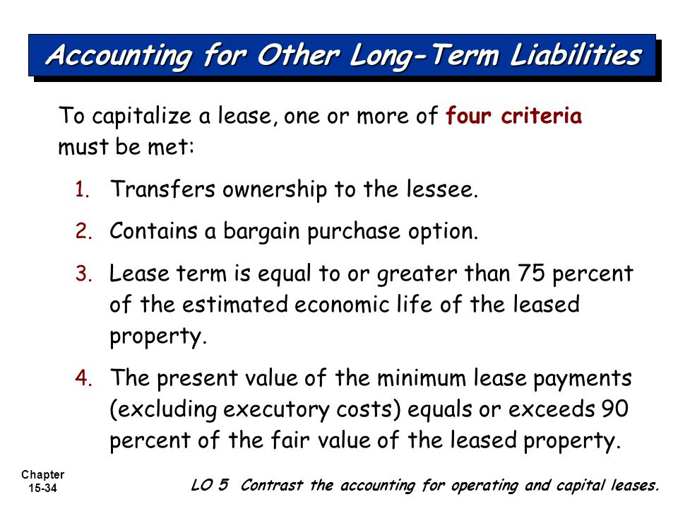 Chapter 15-34 To capitalize a lease, one or more of four criteria must be met: 1. Transfers ownership to the lessee. 2. Contains a bargain purchase op