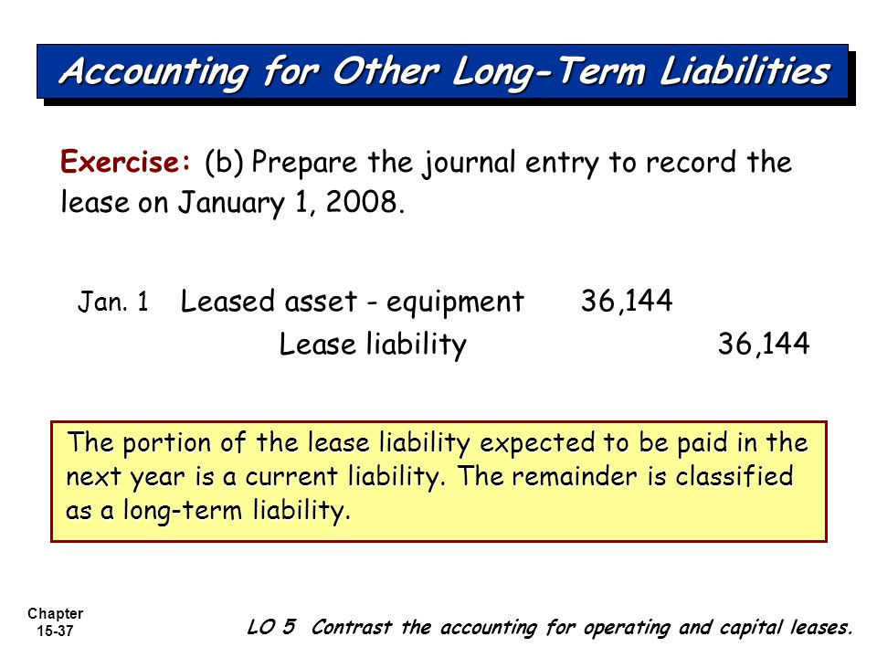 Chapter 15-37 Exercise: (b) Prepare the journal entry to record the lease on January 1, 2008. Jan. 1 Leased asset - equipment 36,144 Lease liability36